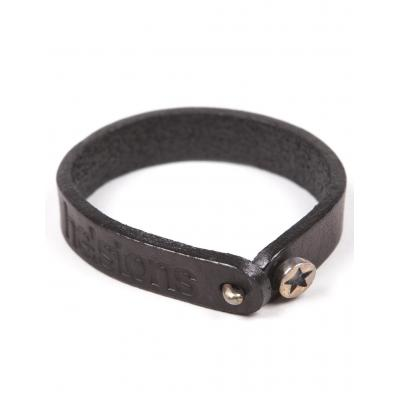 Bracelet cuir Helstons Star argent/noir