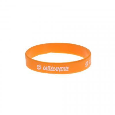 Bracelet silicone La Bécanerie orange/blanc