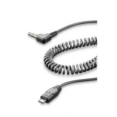 Câble spiralé Cellularline micro USB / jack 3,5 mm