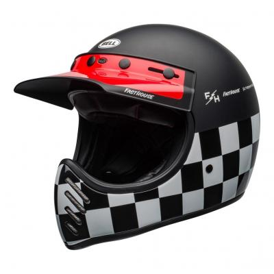 Casque Bell Moto 3 Fasthouse Checkers mat/brillant noir/blanc/rouge