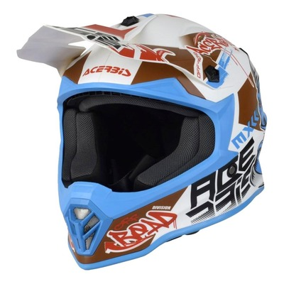 Casque cross Acerbis Impact Steel Junior blanc/bleu mat
