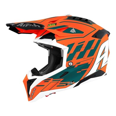 Casque cross Airoh Aviator 3 orange/blanc/ brillant