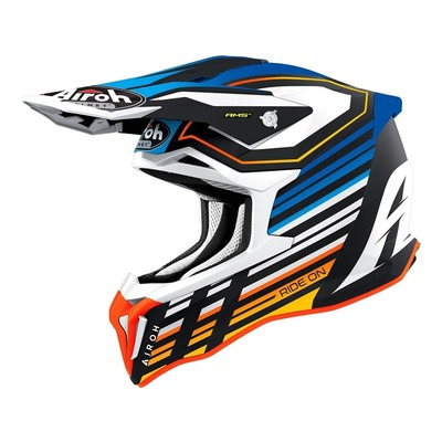 Casque cross Airoh Strycker Shaded bleu/blanc/orange mat