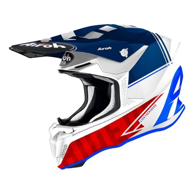 Casque cross Airoh Twist 2.0 Tech bleu/blanc/rouge brillant