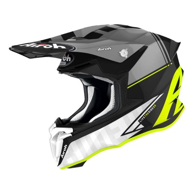 Casque cross Airoh Twist 2.0 Tech jaune/gris/noir/blanc mat