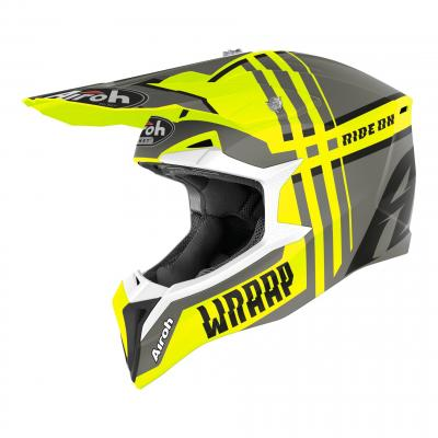Casque cross Airoh Wraap Broken jaune mat
