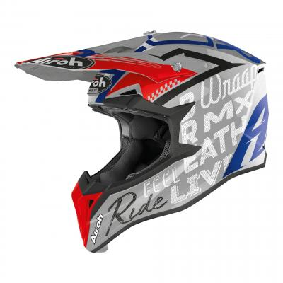 Casque cross Airoh Wraap Street gris métal brillant