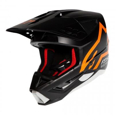 Casque cross Alpinestars S-M5 Compass noir/orange fluo mat