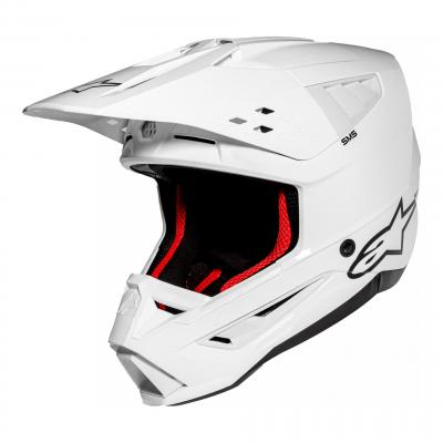 Casque cross Alpinestars S-M5 Solid blanc brillant