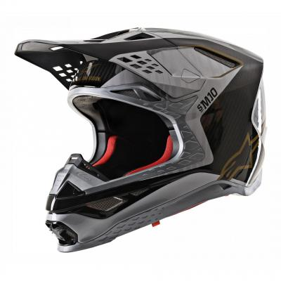 Casque cross Alpinestars Supertech S-M10 Alloy argent/noir carbone/or
