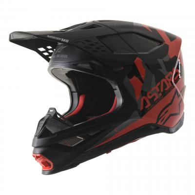 Casque cross Alpinestars Supertech S-M8 Echo noir/gris/rouge fluo mat et brillant