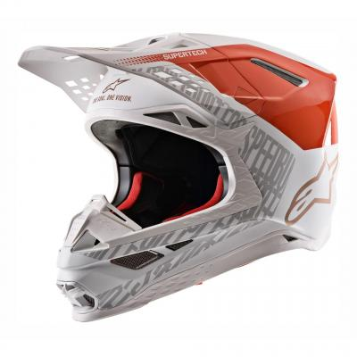 Casque cross Alpinestars Supertech S-M8 Triple mat/brillant orange fluo/blanc/or
