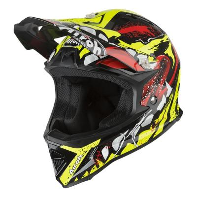 Casque cross enfant Airoh Archer Grimm jaune/rouge brillant