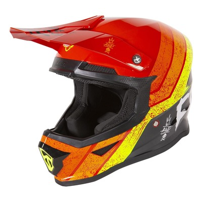 Casque cross enfant Freegun Stripe brillant rouge