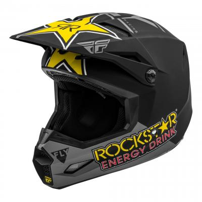 Casque cross Fly Racing Kinetic Rockstar jaune/noir/gris mat