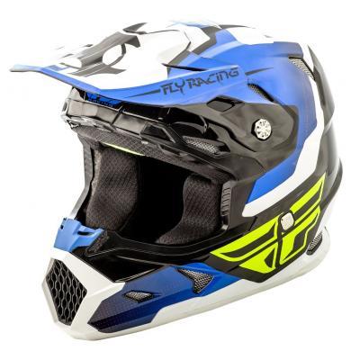 Casque cross Fly Racing Toxin bleu/noir/blanc