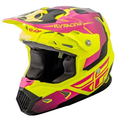 Casque cross Fly Racing Toxin jaune fluo mat/rose