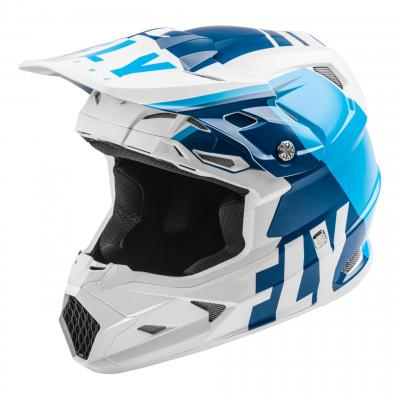 Casque cross Fly Racing Toxin Mips Transfer bleu/blanc mat
