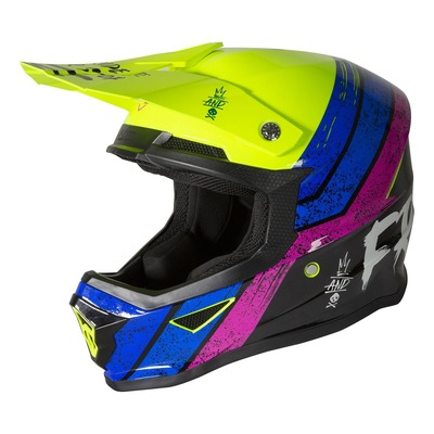 Casque cross Freegun XP-4 Stripe brillant jaune fluo