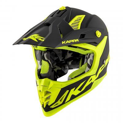 Casque cross Kappa KV39 basic noir mat/jaune fluo