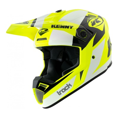 Casque cross Kenny Track Graphic blanc/jaune fluo