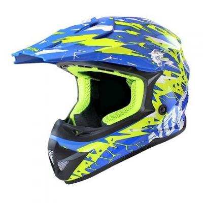 Casque Cross Noend Cracked bleu/jaune