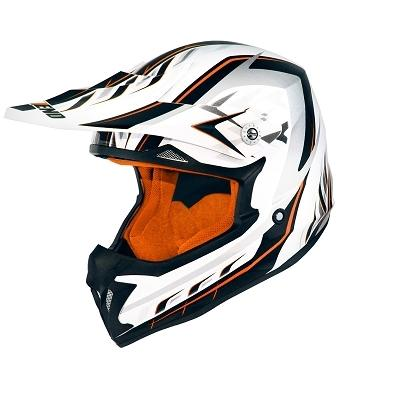 Casque cross Noend Defcon 5 blanc/orange
