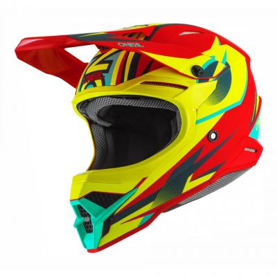 Casque cross O'Neal 3SRS Riff 2.0 rouge/jaune fluo