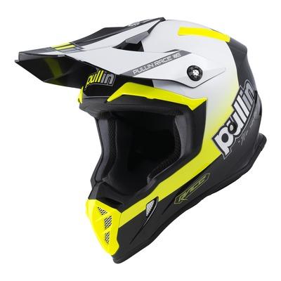 Casque cross Pull-in Race jaune fluo/blanc/noir brillant