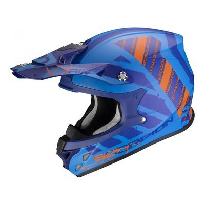 Casque cross Scorpion VX-21 Urba Mat bleu/orange