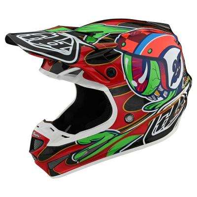 Casque cross Troy Lee Designs SE4 Carbon Flash Eyeball Mips noir/rouge