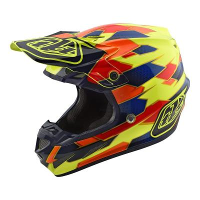 Casque cross Troy Lee Designs SE4 Composite Maze jaune/bleu
