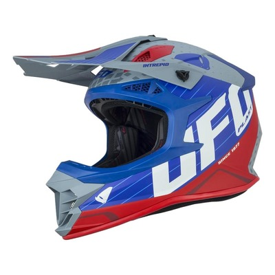 Casque cross Ufo Intrepid gris/bleu/rouge brillant