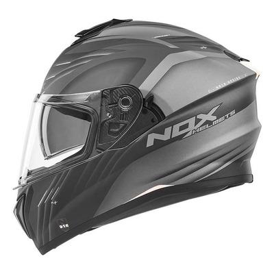 Casque intégral Nox N918 Upside mat blanc/noir/gris