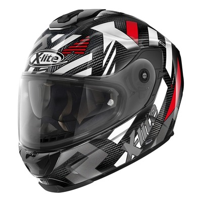 Casque intégral X-Lite X903 Ultra Carbon Creek N-Com blanc/rouge/carbone