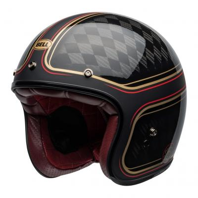 Casque jet Bell Custom 500 Carbon DLX RSD Checkmate mat/brillant noir/or