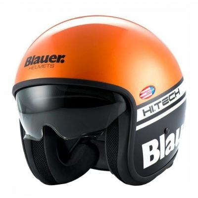 Casque jet Blauer Pilot Orange/Noir Mat