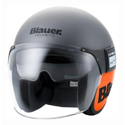 Casque jet Blauer POD Titane/Orange Mat