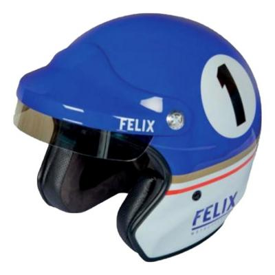 Casque jet Felix Motocyclette Dakar Bleu/blanc
