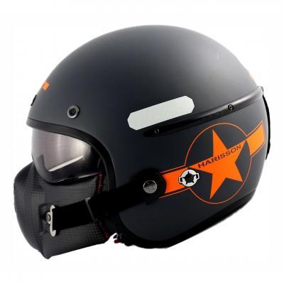 Casque jet Harisson Corsair Star Déco Gris/orange mat