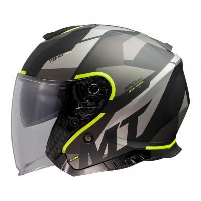 Casque jet MT Helmets Thunder 3 SV gris mat-jaune fluo