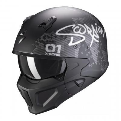 Casque jet Scorpion Covert-X Xborg noir/argent mat