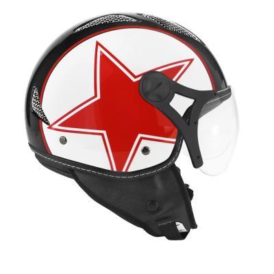 Casque jet TNT Helios star rouge/noir brillant SB13B