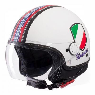 Casque jet Vespa V-Stripes blanc/rouge/multicolore