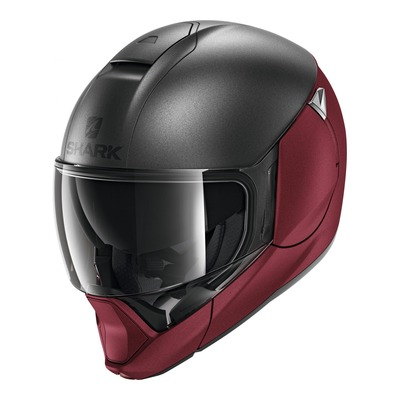 Casque modulable Shark Evojet Dual rouge/anthracite mat