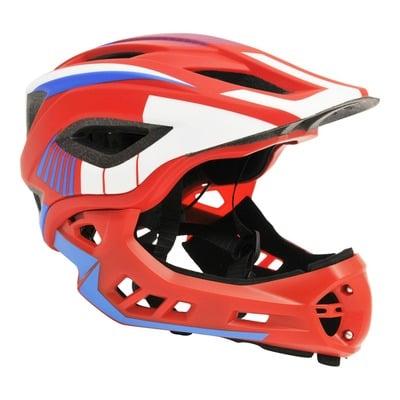 Casque vélo BMX Kiddimoto Intégral Fall Ikon rouge/bleu/banc avec mentonnière détachable 53-5