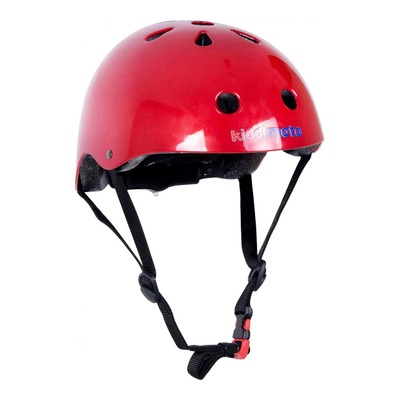 Casque vélo enfant Kiddimoto rouge métal (taille 48-52cm)