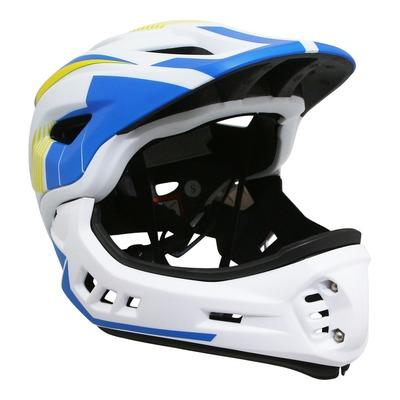 Casque vélo intégral BMX Kiddimoto Intégral Fall Ikon jaune/bleu/blanc avec mentonnière détachable