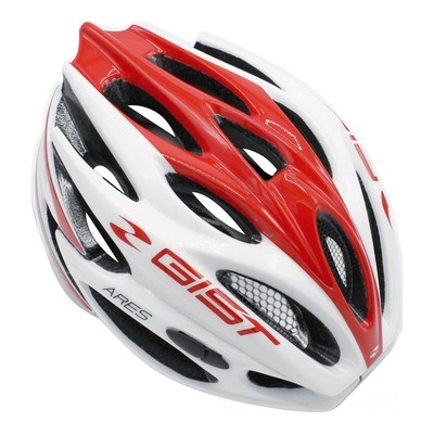 Casque vélo route Gist Ares blanc/rouge (taille 52-58)