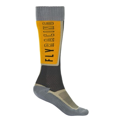Chaussettes Fly Racing MX Thin noir/gris/moutarde